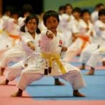 karate kids deep stance with punch